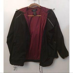 Jackets & Coats - Burgundy and black windbreaker